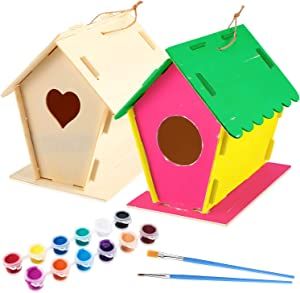 2 Set DIY Wooden Birdhouse Kits, Unfinished Hanging Wood Bird Houses with Twine, 12 Colors Paints, 2 Brushes for Kids to Build and Paint Birdhouse