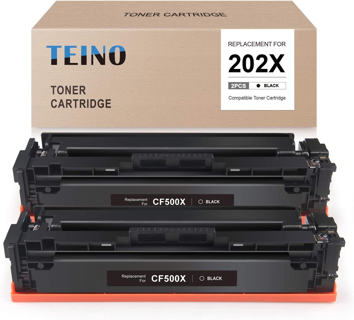 TEINO Compatible Toner Cartridge Replacement for HP 202A 202X CF500A CF500X use with HP Color Laserjet Pro MFP M281fdw M281cdw M254dw M254nw M281dw M280nw M254dn M281fdn (Black, 2-Pack)