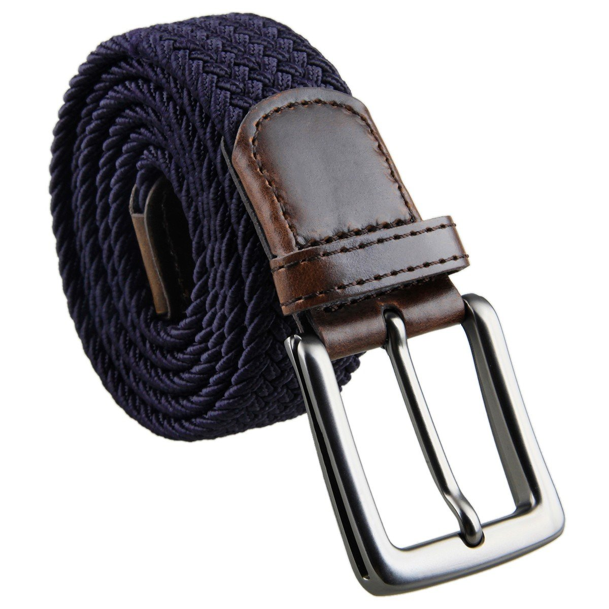 moonsix Braided Stretch Belts for Men,PU Leather Elastic Fabric Woven Webbing Belt,Style 1-Navy Blue