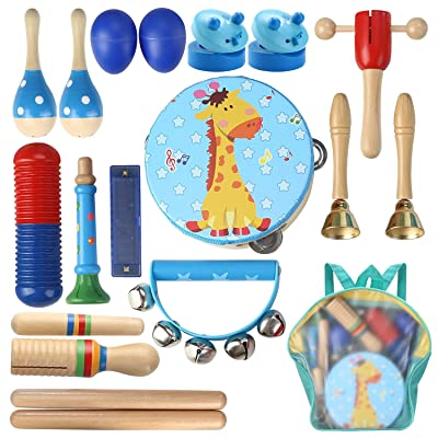 Lujex Kids Wooden Percussion Instrumental Musical Instrument Toy Set with Backpack Bag: Toys & Games