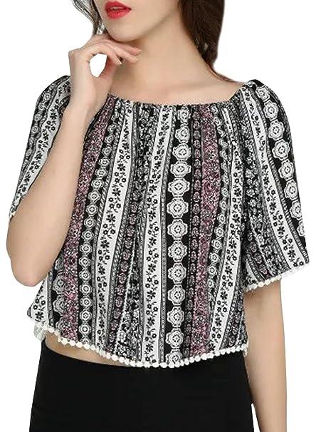 La moda femenina de la raya vertical del cuello media manga de la blusa de la