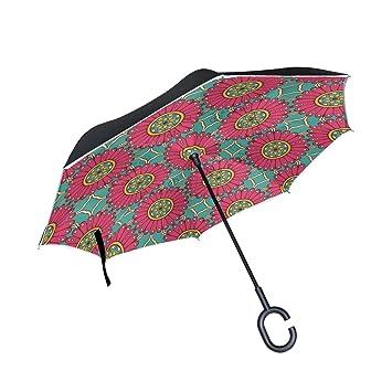 MAILIM Mandalas Florals - Paraguas Reversible para Coche, Color Rojo, con Mango en C