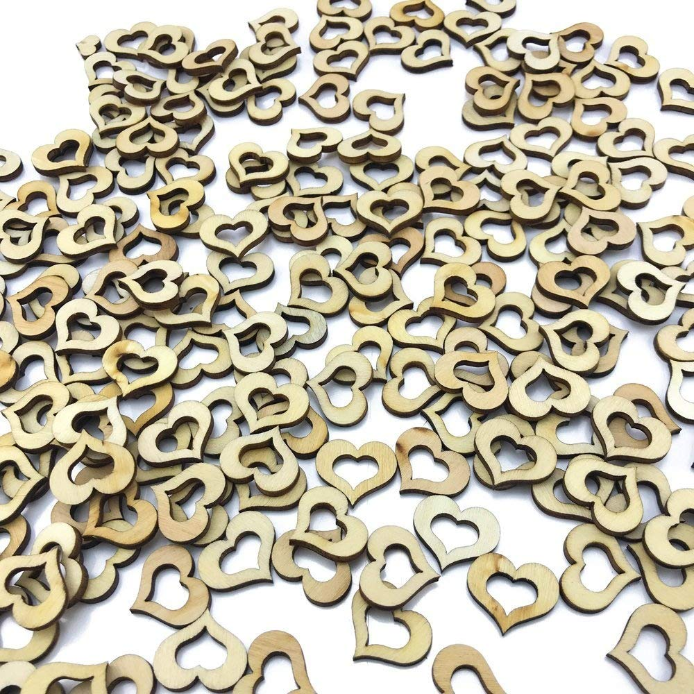 CEWOR 300pcs Rustic Wooden Pattern Love Hearts Shaped Wood Slices Crafts for Wedding Table Scatter Decoration