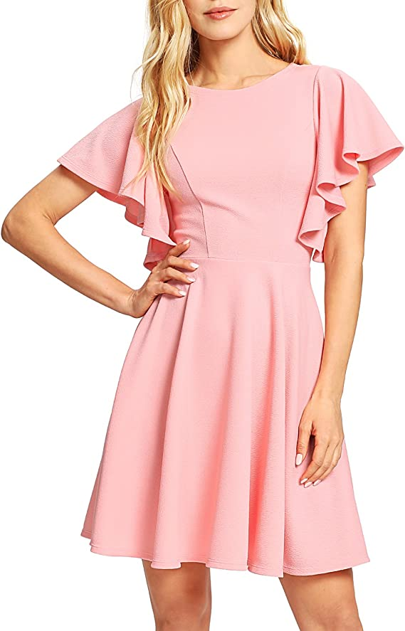 Romwe Women's Stretchy A Line Swing Flared Skater Cocktail Party Dress Pink XS best women's spring dresses