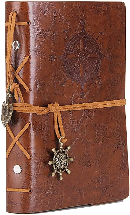 Retro Pendants Leather Writing Journal Notebook Dark Blue Classic Embossed Unlined Paper EvZ 5 Inches Vintage Nautical Spiral Blank String Daily Notepad Sketchbook Travel to Write in
