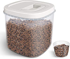 TBMax Pet Food Storage Container, Airtight Dog Food Storage Bin with Easy Seal Lid + Measuring Cup, Perfect for Dry Cat Food/Dog Food/Bird Seed Storage