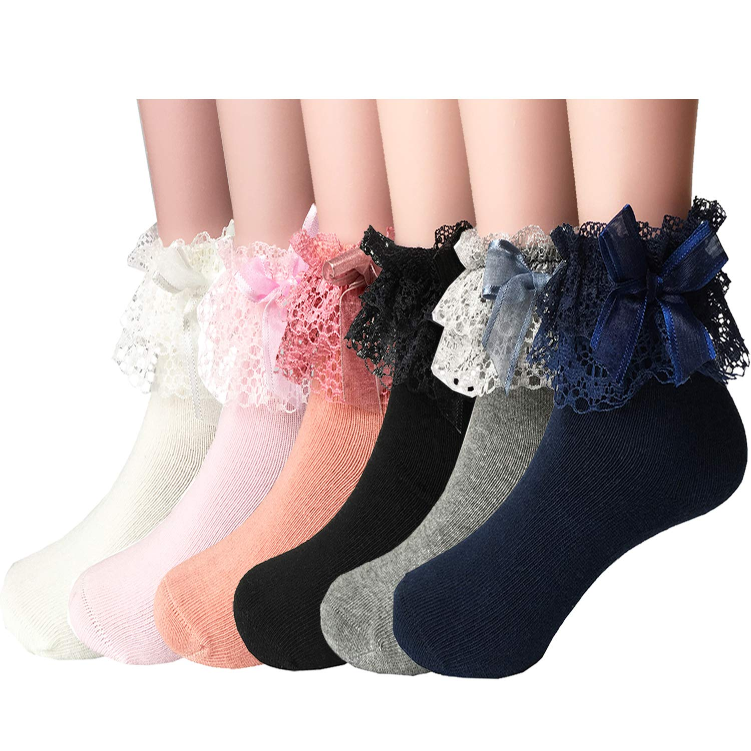 BILLSTYLE 7-9 yrs Girl's Sweet Bowknot Lace Trim Ruffle Cotton Low Cut Socks 6 Pairs