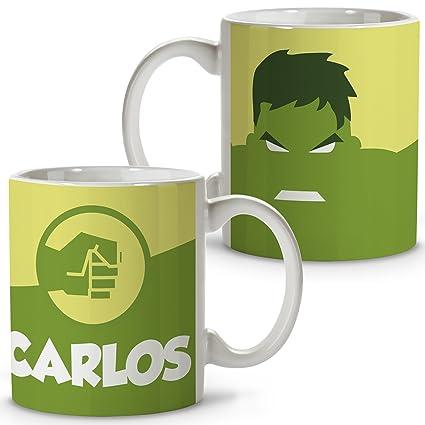 Taza Superhéroes Personalizada con Nombre | Regalo Friki | Varios Diseños y Colores Interior | Hulk