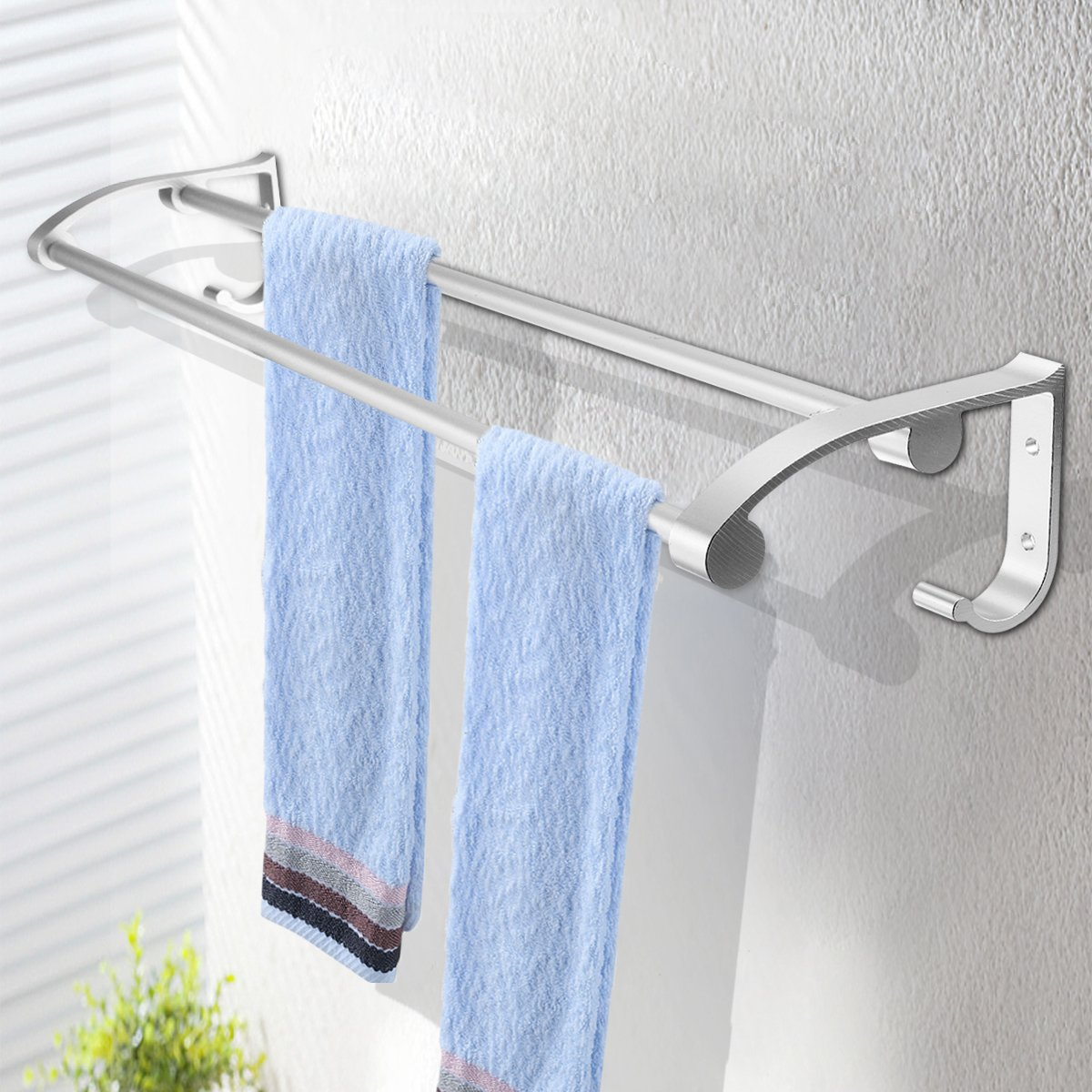 Vivona Hardware & Accessories Stainless Steel Towel Rack Hook Wall Mounted Rail Towel Double Shelf Storage Bathroom Kitchen Holder