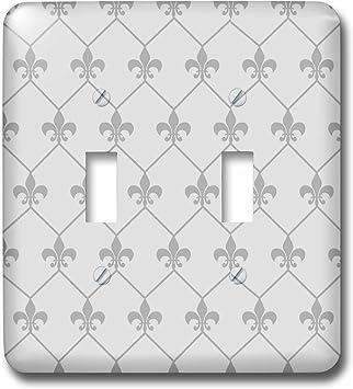 3drose Lsp 171853 2 Vintage Grey Fleur De Lis Wallpaper Connected In Diamond Shape Pattern Light Switch Cover