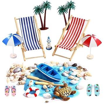 15 mini silla de playa decoración de playa paraguas palmera botas ...