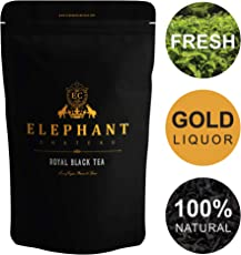 Flowery Ceylon Black Tea | 50 Cups | Delicious High Elevation Organic Nuwera Eliya Tea | Tasty Plain & Without Sugar | English Breakfast | Bulk Natural Leaves | Aromatic Liquor | Elephant Chateau