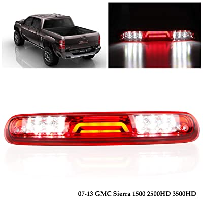 Replacement for 2007-2013 Chevy Silverado/GMC Sierra 1500 2500 3500 HD Rear Roof Center LED Third 3rd Brake Cargo Light Assembly High Mount Brake Tail Light (Chrome Housing Red Lens): Automotive