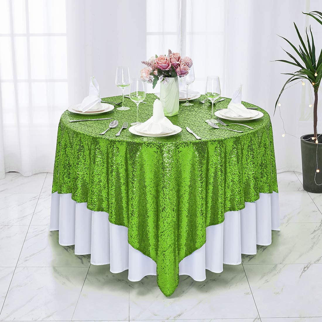 Hahuho Apple Green Sequin Tablecloth 90x90 inch Square, Glitter Tablecloth for Bridal Shower Decorations, Birthday, Wedding, Dessert, Banquet(90x90 Inch, Apple Green)