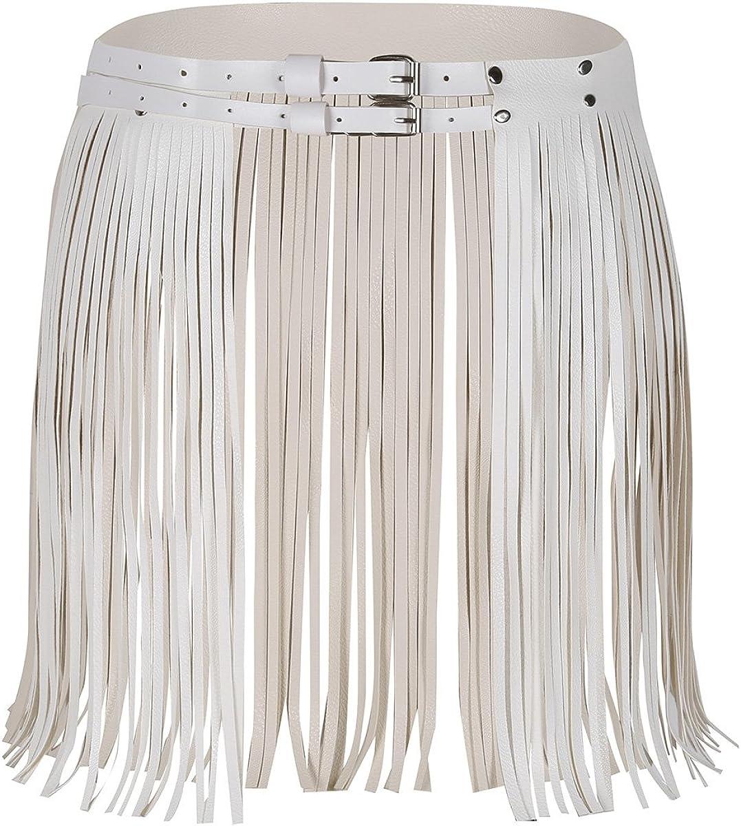 Alvivi Falda Borla Cuero PU con Flecos Vestido Danza Etapa Clubwear Mini Falda con Cinturón Cintura Ajustable Hebillas