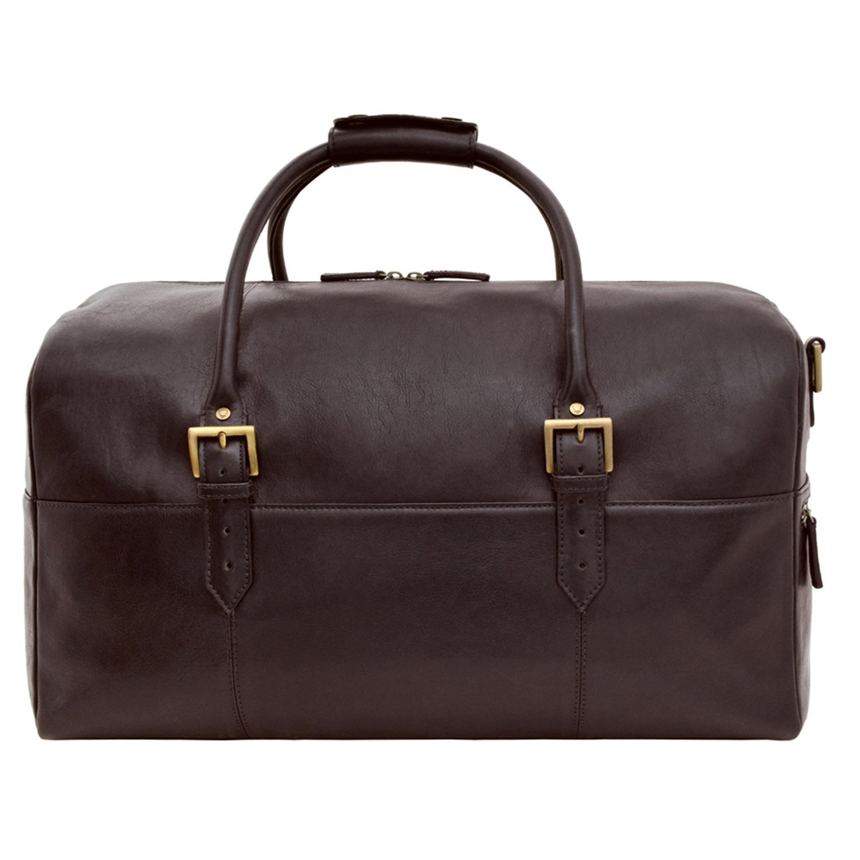 HIDESIGN Charles Leather Cabin Travel Duffle Weekend Bag, Brown