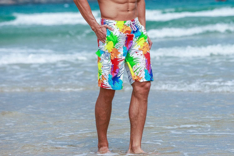 Sykooria Herren Badeshorts Badehose Sommer Schnelltrocknend Elastisch Kordelzug Surfenen Strand Badebekleidung M/änner Kurz Badeshort mit Taschen