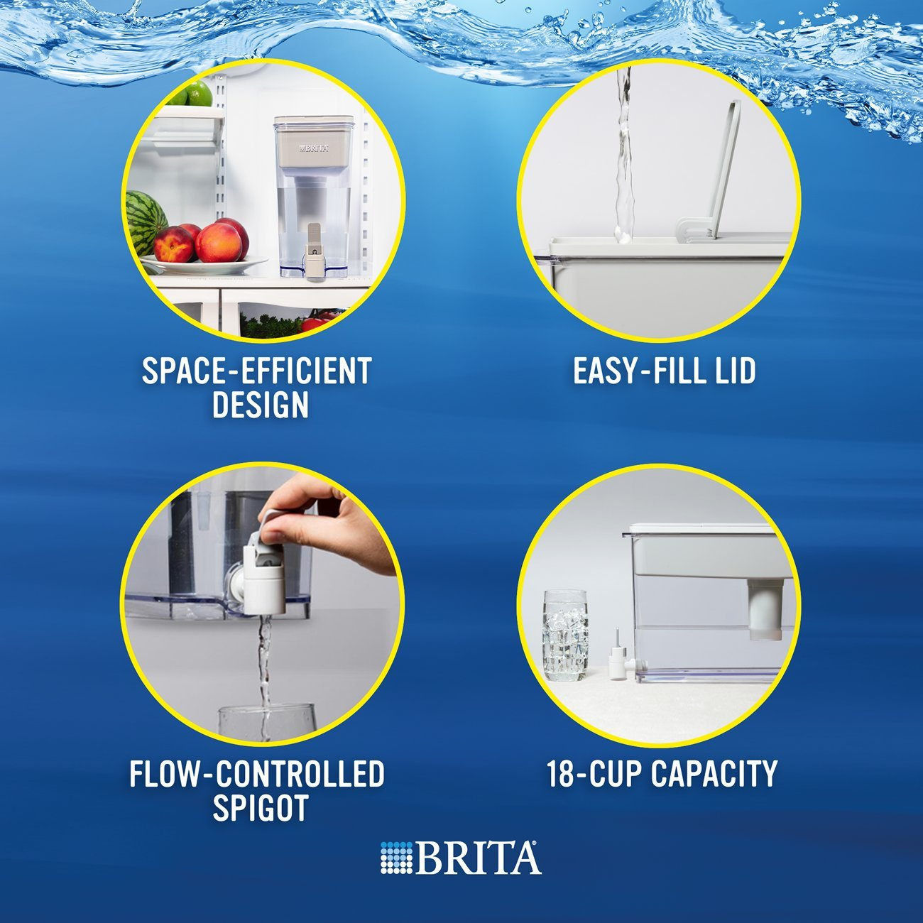 Brita Extra Large 18 Cup Filtered Water Dispenser with 1 Standard Filter, BPA Free – UltraMax, Gray by Brita (Image #8)