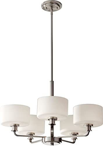 Feiss F2773 5BS Kincaid Glass Mini Chandelier Lighting, Satin Nickel, 5-Light 25 Dia x 17 H 300watts