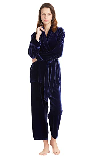 5aa6421a0a LILYSILK Women s Silk Velvet Pyjamas Set Long Ladies Belt Pajamas Sleepwear  Navy Blue Size ...