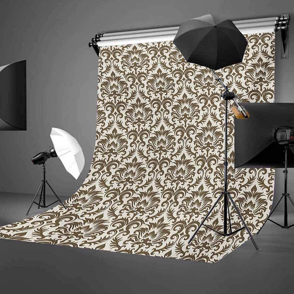 10x15 FT Backdrop Photographers,Floral Damask Featuring Scrolled Motifs Antique Victorian Style Old Country Background for Baby Shower Birthday Wedding Bridal Shower Party Decoration Photo Studio