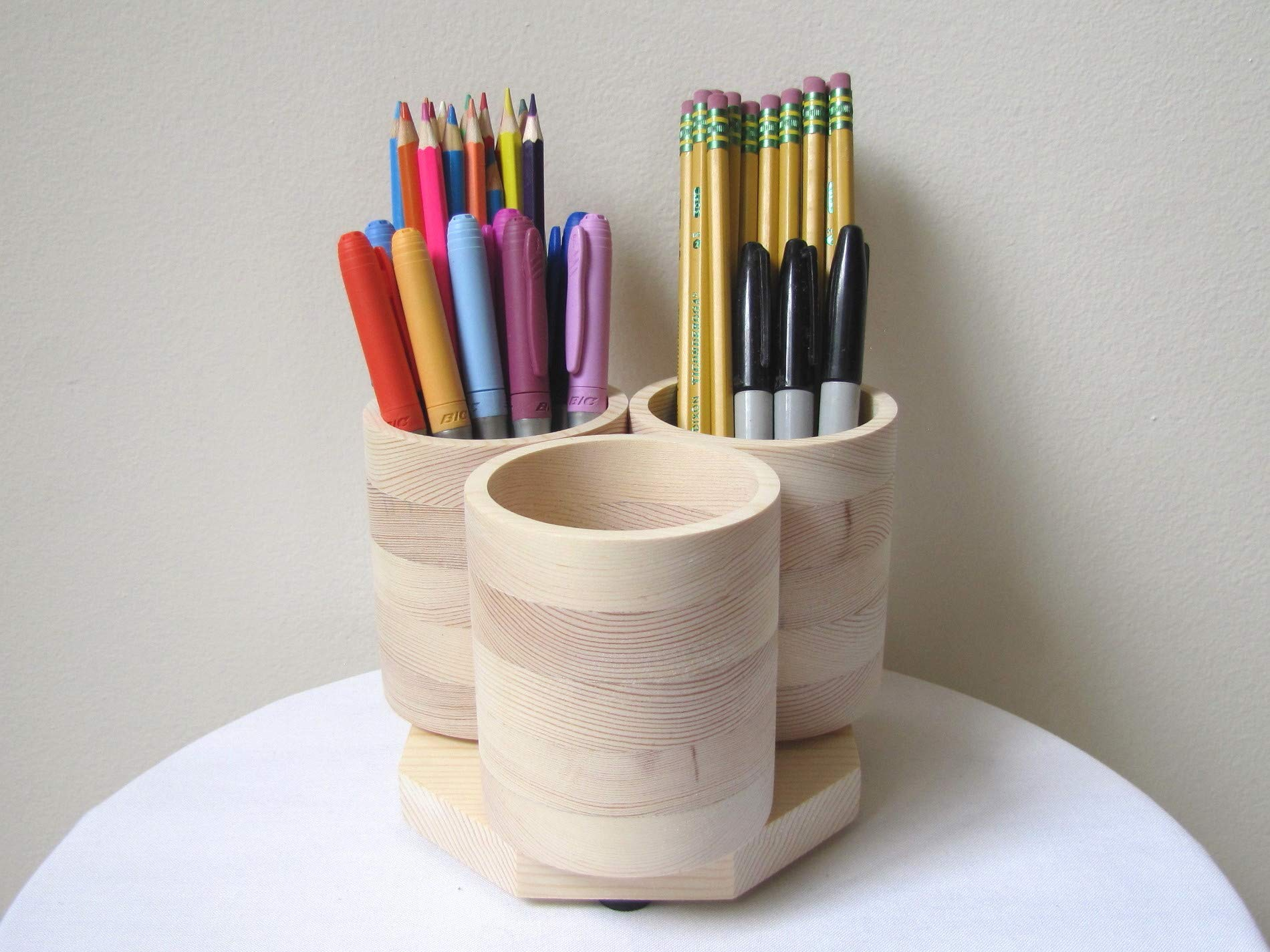 3 Cup Desktop Rotating Wooden Pencil Holder Desk Organizer Marker Storage, Holds 75+ Colored Pencils Pens Markers, Natural Wood by Craft Innovation
