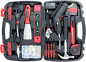 Tool Set Toolbox with Tools for Women Included Cordless Screwdriver-SAVWAY P7994 Hand Tool Storage Case Homeowner's Tool Kit with Drill Red and Black