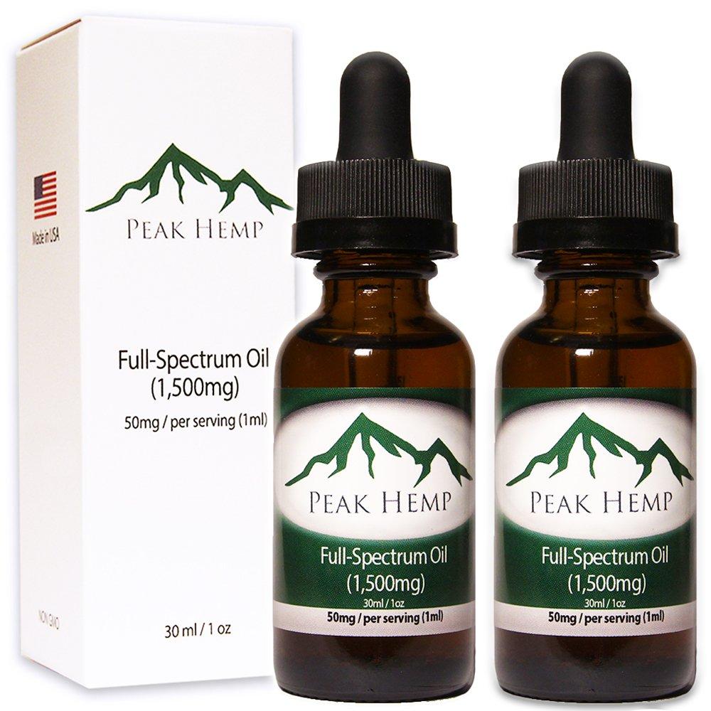 Peak Hemp - Full Spectrum Oil Hemp Extract 3,000mg - (2 Pack) Two 1,500mg 1 oz Bottles