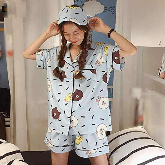 Amazon.com: Plus Size 2018 Women Casual Cartoon Printed Short Sleeve Pajamas 3 Pieces Sets hot Shorts: Clothing