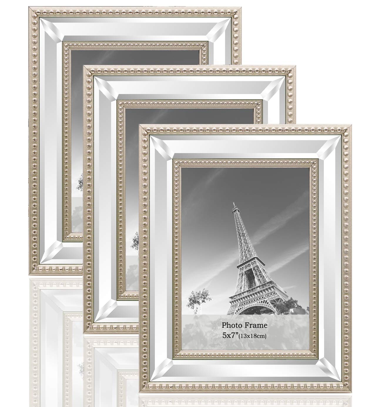 meetart 5x7 3 Pack Mirror Photo Frames Sets for Wall Pictures Decor or Table Stand by meetart