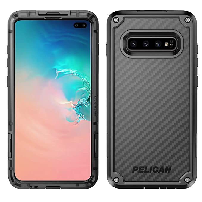 check out c38b4 13e7b Pelican Shield Samsung Galaxy S10+ Phone Case, 5-Layer Extreme Protective  Smartphone Cover, 12-Foot Drop Protection, Kickstand Belt Clip Accessory ...