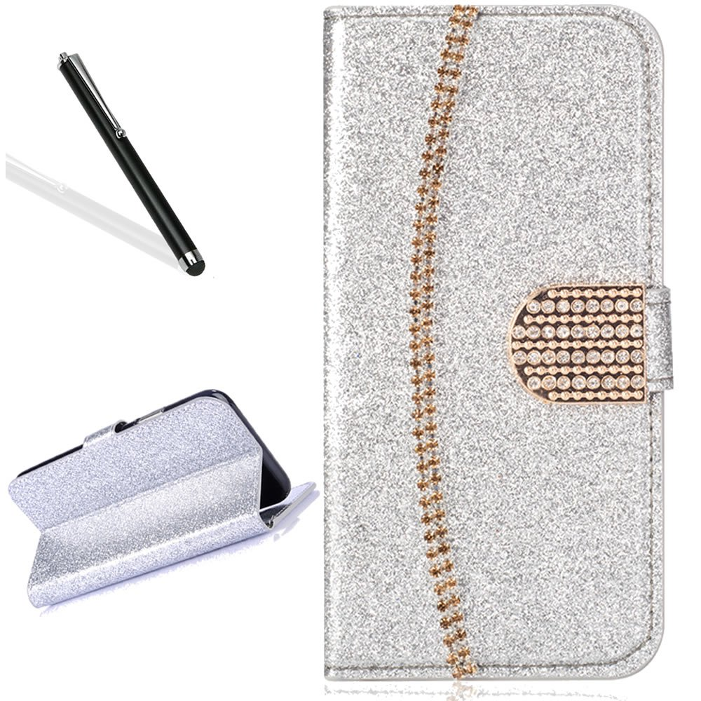 Galaxy A8 Plus 2018 Wallet Case,Bling Glitter Folio Case for Samsung A8 Plus 2018,Leecase Luxury Noble Sparkle Shining Gold Chain Design Cover for Samsung Galaxy A8 Plus 2018