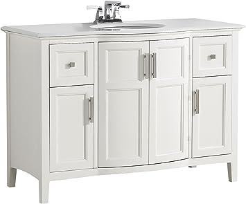 Simpli Home 4axcvwnrw 48 Winston Contemporary Bath Vanity Engineered Quartz Marble Extra Thick Top Soft White With Bombay White Top 48 Inch Amazon Com
