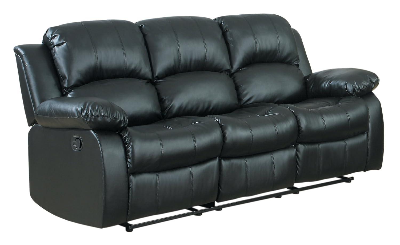 amazoncom homelegance double reclining sofa black bonded leather kitchen u0026 dining