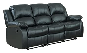 Good Homelegance Double Reclining Sofa, Black Bonded Leather