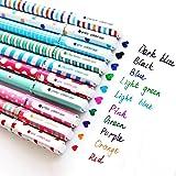 10 Multi Colors Cute Pens for Girls, Colorful Gel Ink Pens, 10 Pcs Kawaii Roller Ball Fine Point Pen Set for Kids Girls Child
