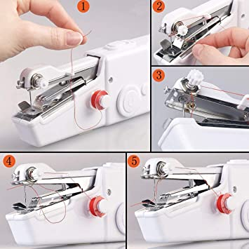 Clothing Family Travel Used for Fabrics Have Power Cord eoocvt Handheld Sewing Machine DIY Handicraft Shop Black Childrens Clothing Cordless Handheld Electric Sewing Machine
