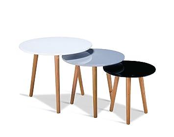 Tables Gigognes Scandinave En Bois Set De 3 Table Gris Blanc Noir