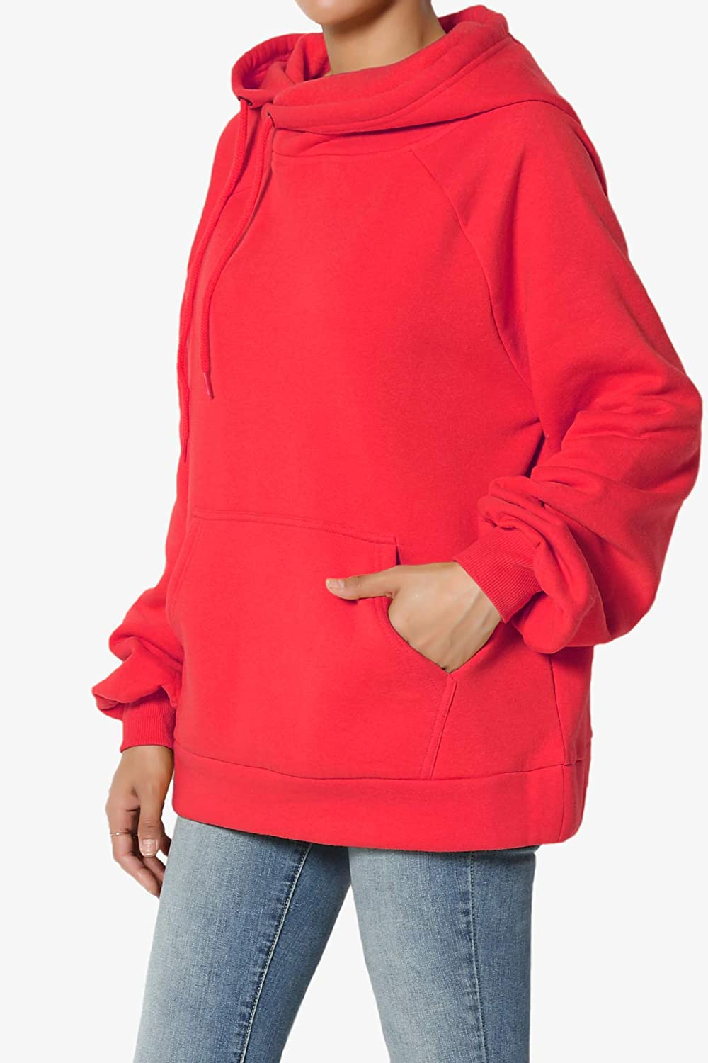 TheMogan Side Drawstring Cozy Fleece Relaxed Fit Hooded Pullover Sweatshirts