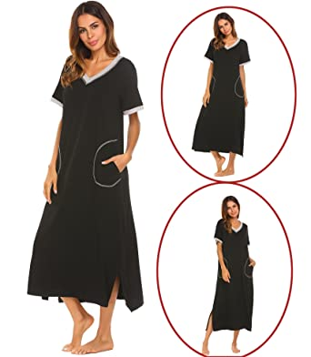 Adidome Womens Long Cotton Nightdress V Neck Short Sleeve Loose Sleepwear  Lounge Dress 55c995aab
