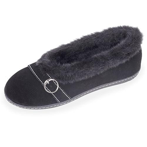 Zapatillas MUJER Bailarinas - cuero terciopelo - suela ergonóm Isotoner 38: Amazon.es: Zapatos y complementos