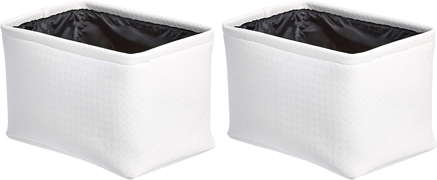 AmazonBasics Storage Bins - Metallic White, 2-Pack
