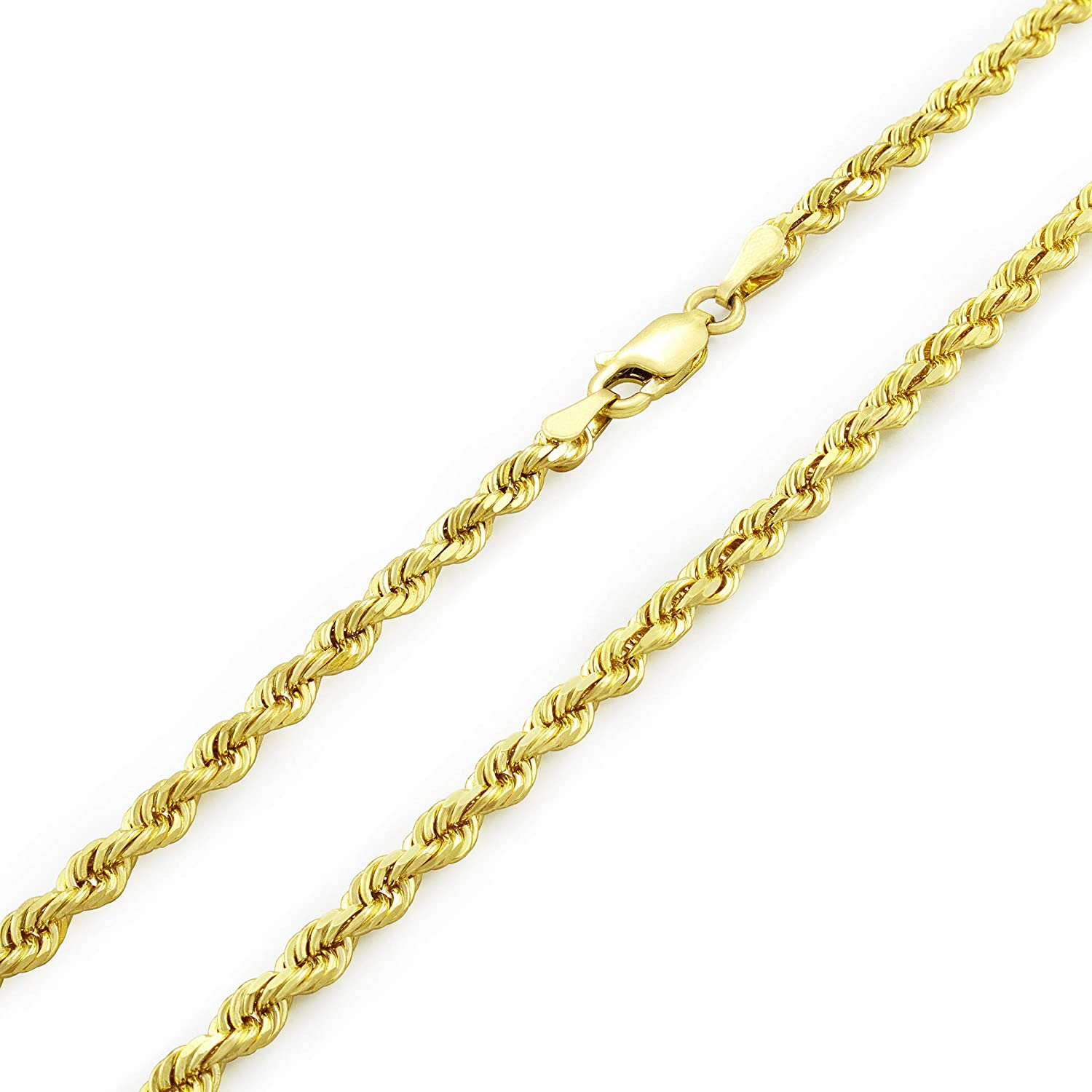 14K Solid Diamond Cut Yellow Gold 1.35mm Italy Rolo Round Link  Chain