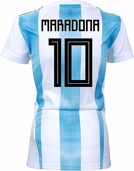 adidas Maradona - Camiseta de fútbol para Mujer, diseño de Copa del Mundo de Rusia, XL, White/Clear Blue/Black: Amazon.es: Deportes y aire libre