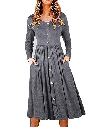 f8b07a9ec721 II ININ Women s Long Sleeve Casual Button Down Loose Swing Midi Dress with  Pockets(Gray