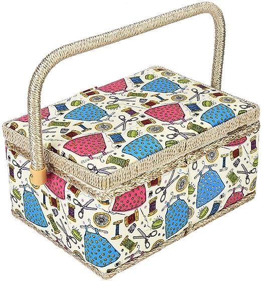 Fabric Craft Basket Handmade High-Grade Sewing Box Thread Needle Storage Box Sewing Kit Storage Box for Daily Use Sewing Basket