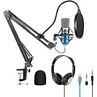 Neewer USB Micrófono con Suspensión, Brazo Tijera, Montaje a Prueba de Golpes, Auriculares con Monitor, Filtro Pop…