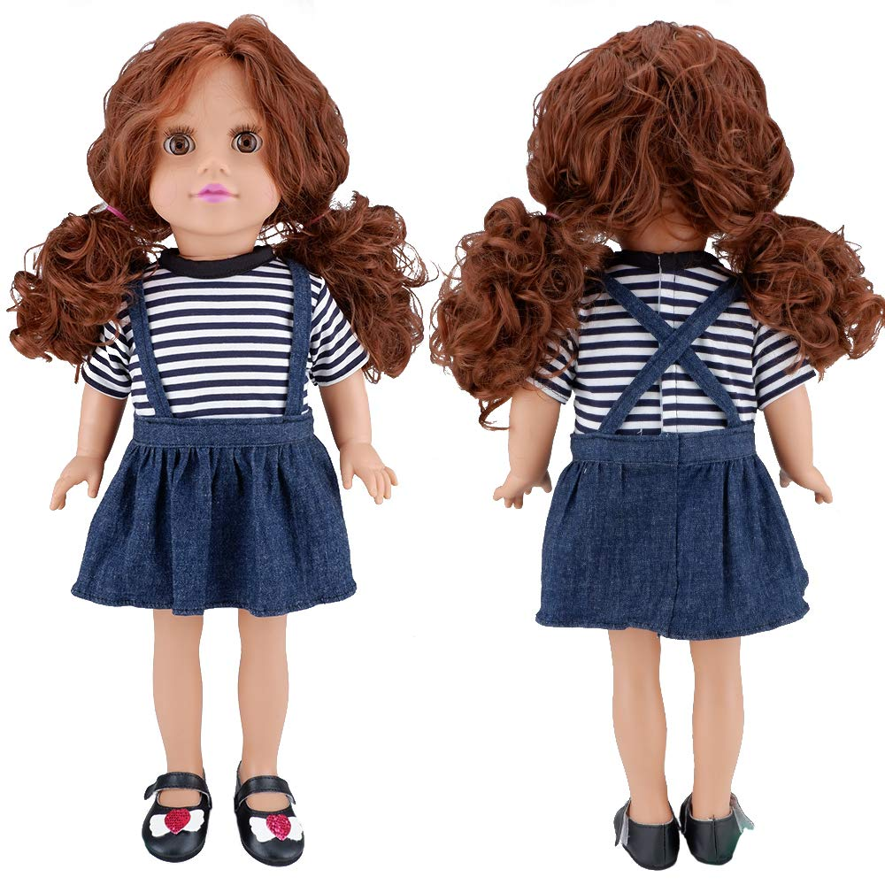 E-TING 5 Set Dolls Outfits Clothes Dress and 2 Pairs Shoes fit for 18 inch Dolls American Girl Dolls