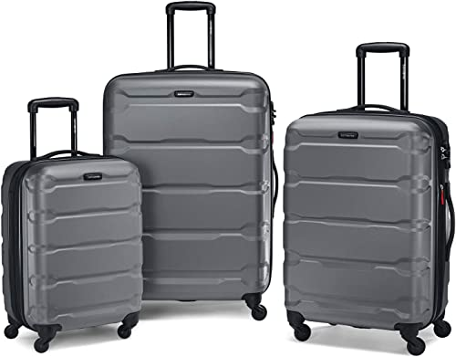 Samsonite Omni Hardside Nested Luggage Spinner Set, Charcoal w 10pc Accessory Kit