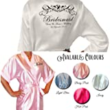 Butterfly Personalised Colour Satin Kimono /Robe's Personalised For The Wedding Party by Inspiredcreativedesign (Uk 8-10)